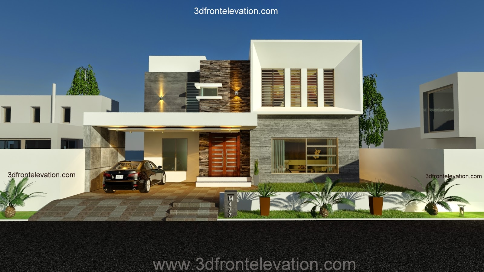 3d front new 1 kanal contemporary house for Best house design 2014