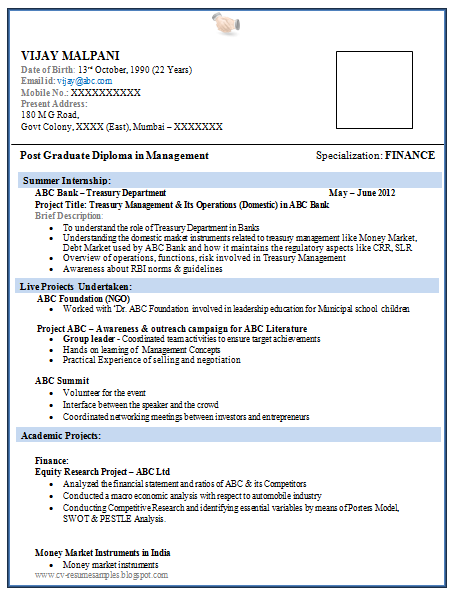 Attractive Free Download Link For Resume Format For MBA Finance Fresher  Download Resume