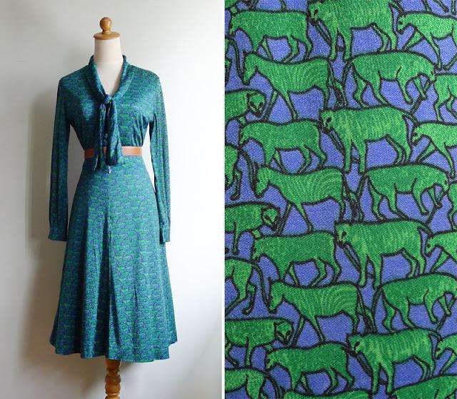 vintage tiger leopard zebra print dress