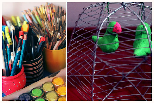 artists tools, egg basket wire, parrots