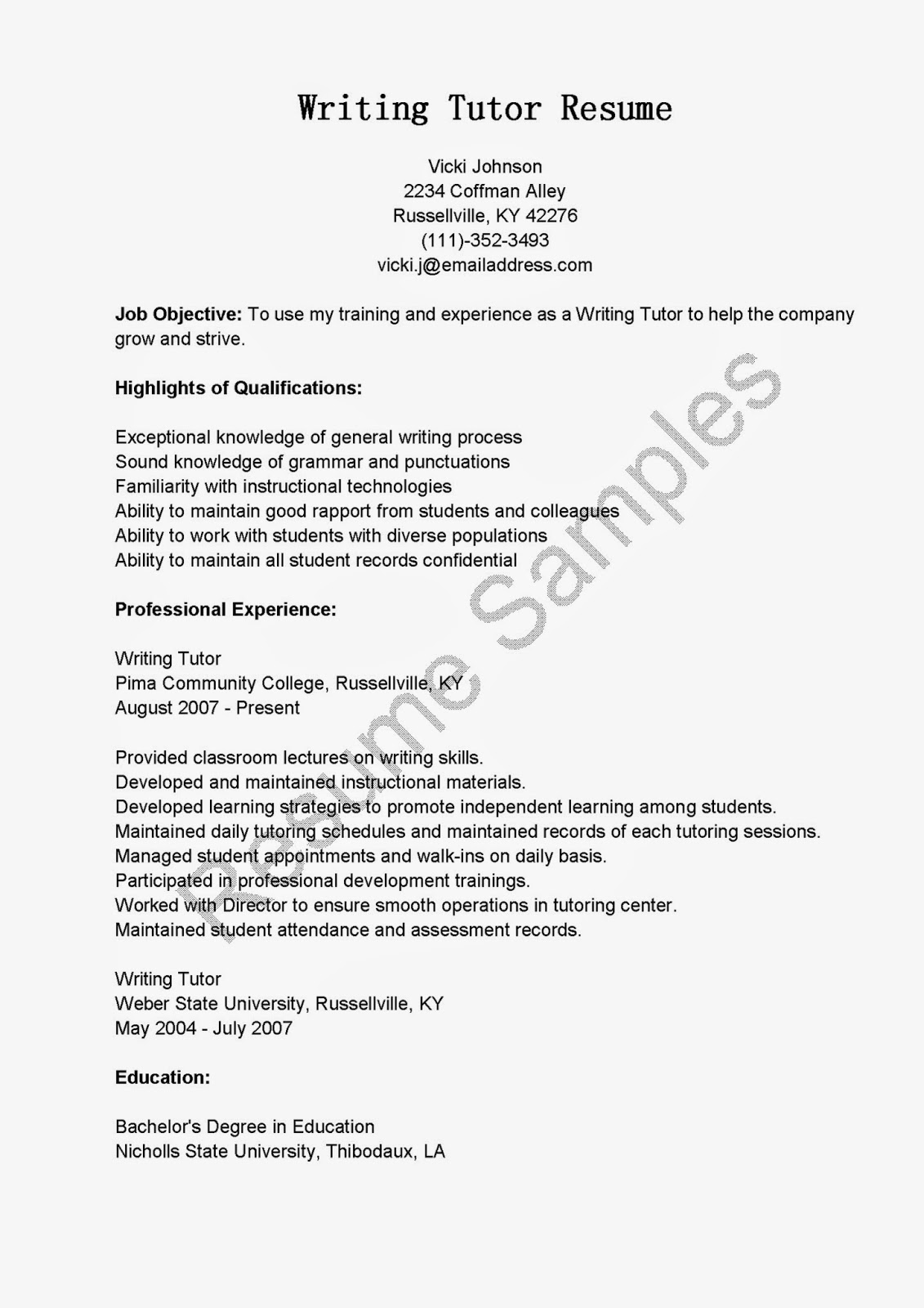 resume samples  writing tutor resume sample