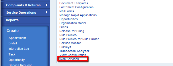 Sap customer engagement using webservices and document templates to create a new webservice go to the option webservices in the navigation bar this option is available standard in the service professional business role pronofoot35fo Images