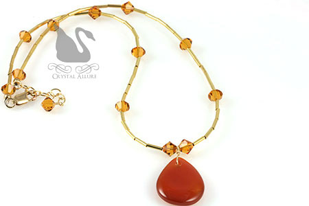 Autumn Honey Topaz Carnelian Gemstone Beaded Necklace (N039)