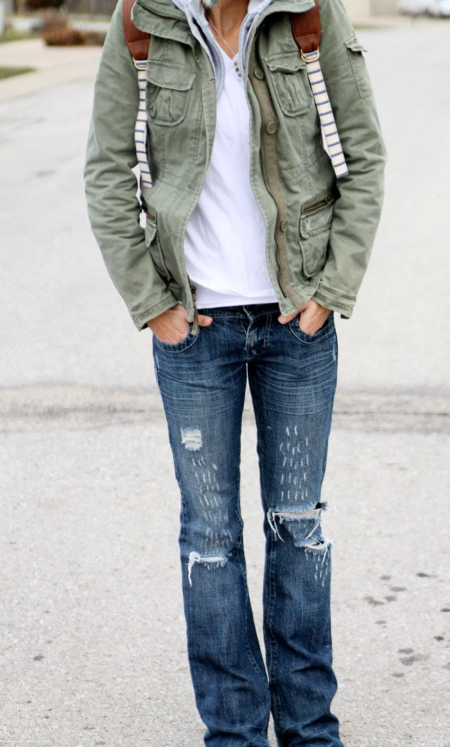 White v-neck, military jacket, hooded sweatshirt