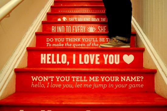 Red Painted Stairs With Doors Lyrics. Beautiful Stenciled Risers ...