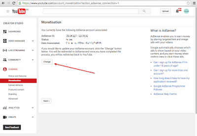 change youtube google adsense account
