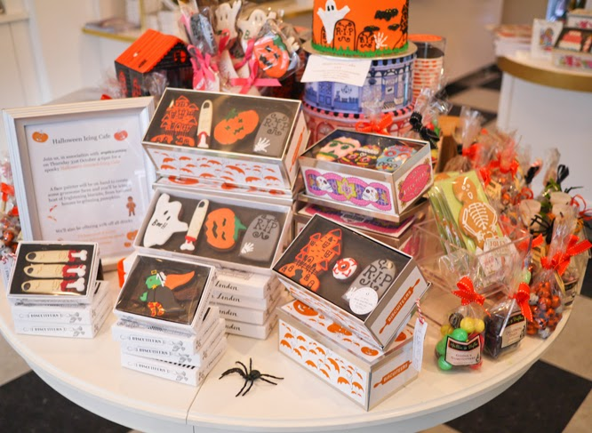 Halloween biscuits on display at Biscuiteers shop in Notting Hill London