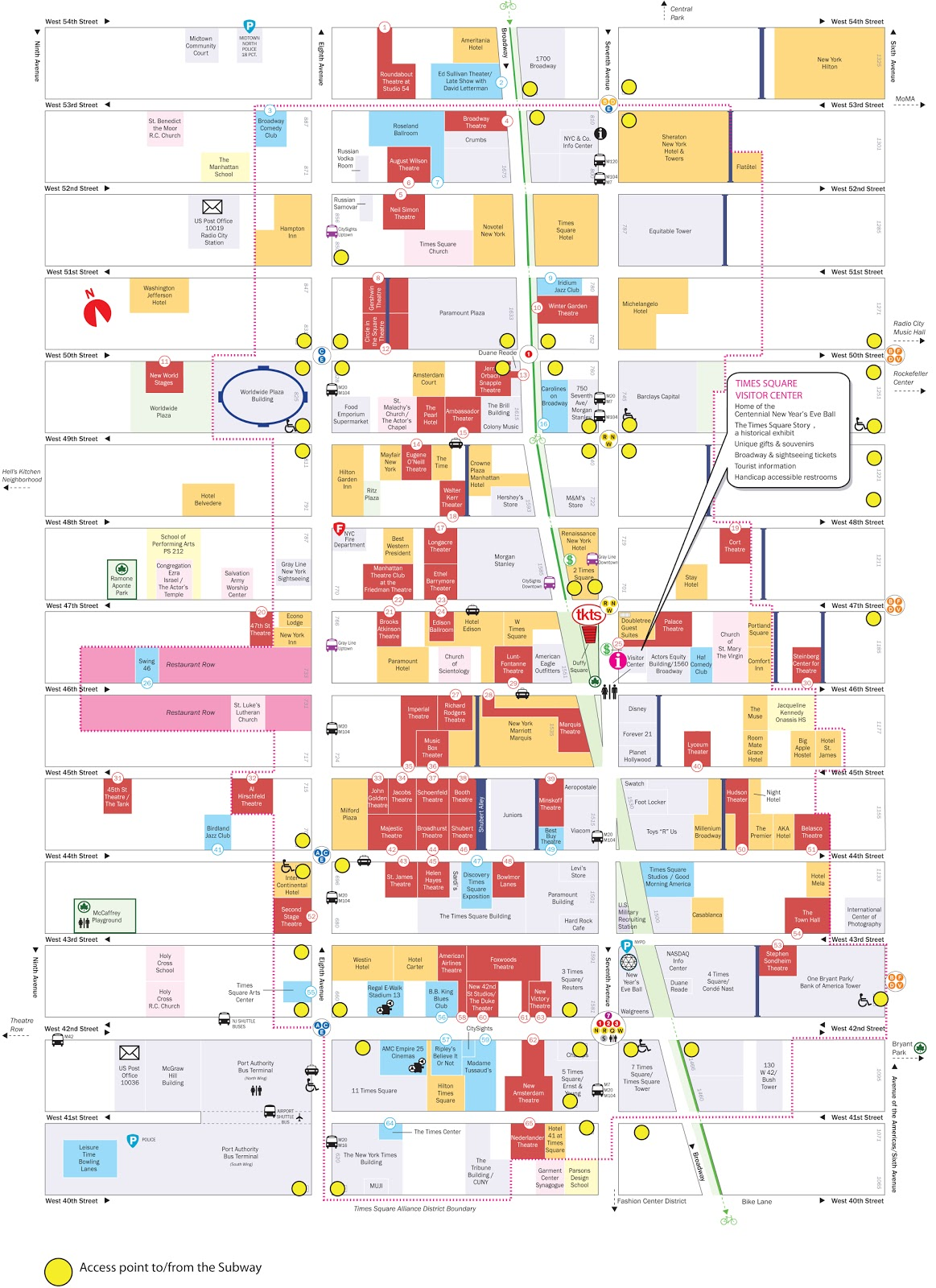 times square tourist map
