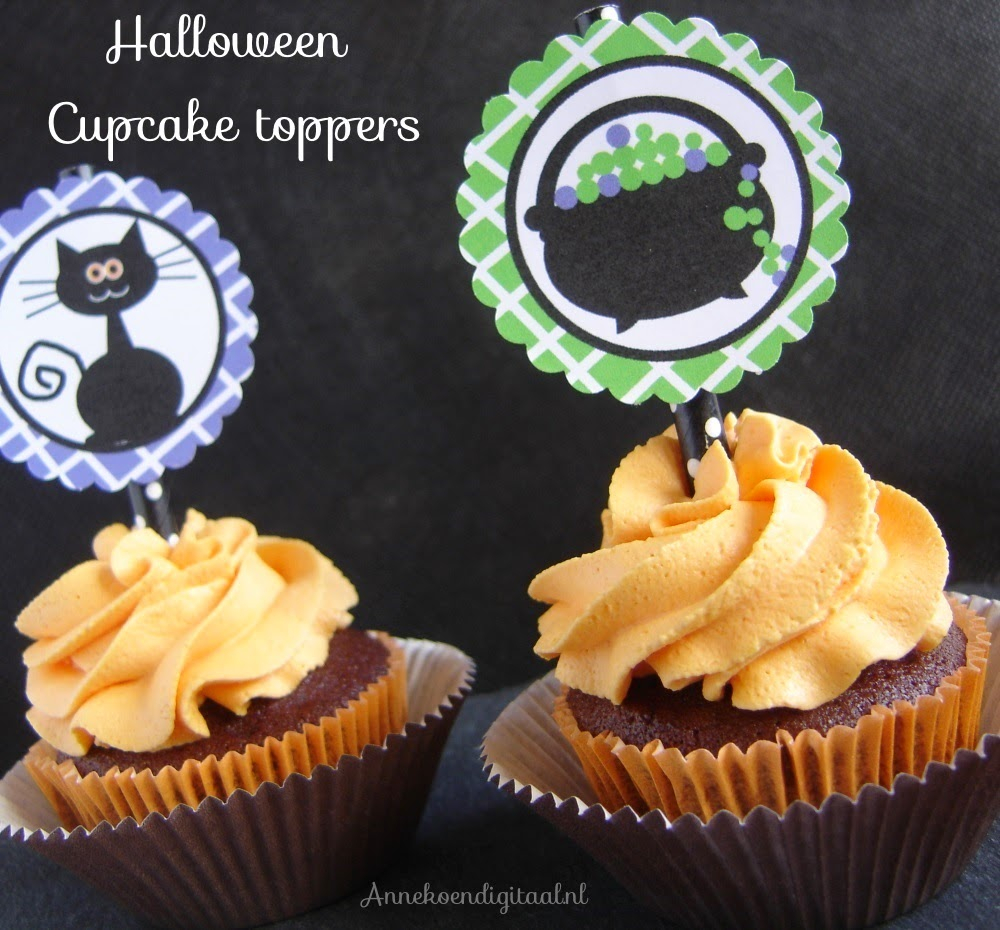 Halloween cupcake toppers, halloween printables, happy halloween, halloween traktatie, halloween cupcakes, happy halloween printables