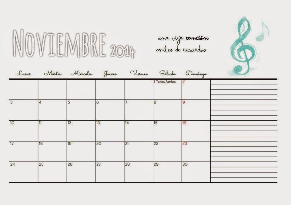 Fondo de escritorio calendario Noviembre tres