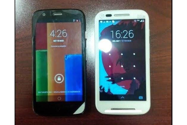 Vaza imagem do Moto E (à direita) ao lado do Moto G (à esquerda)