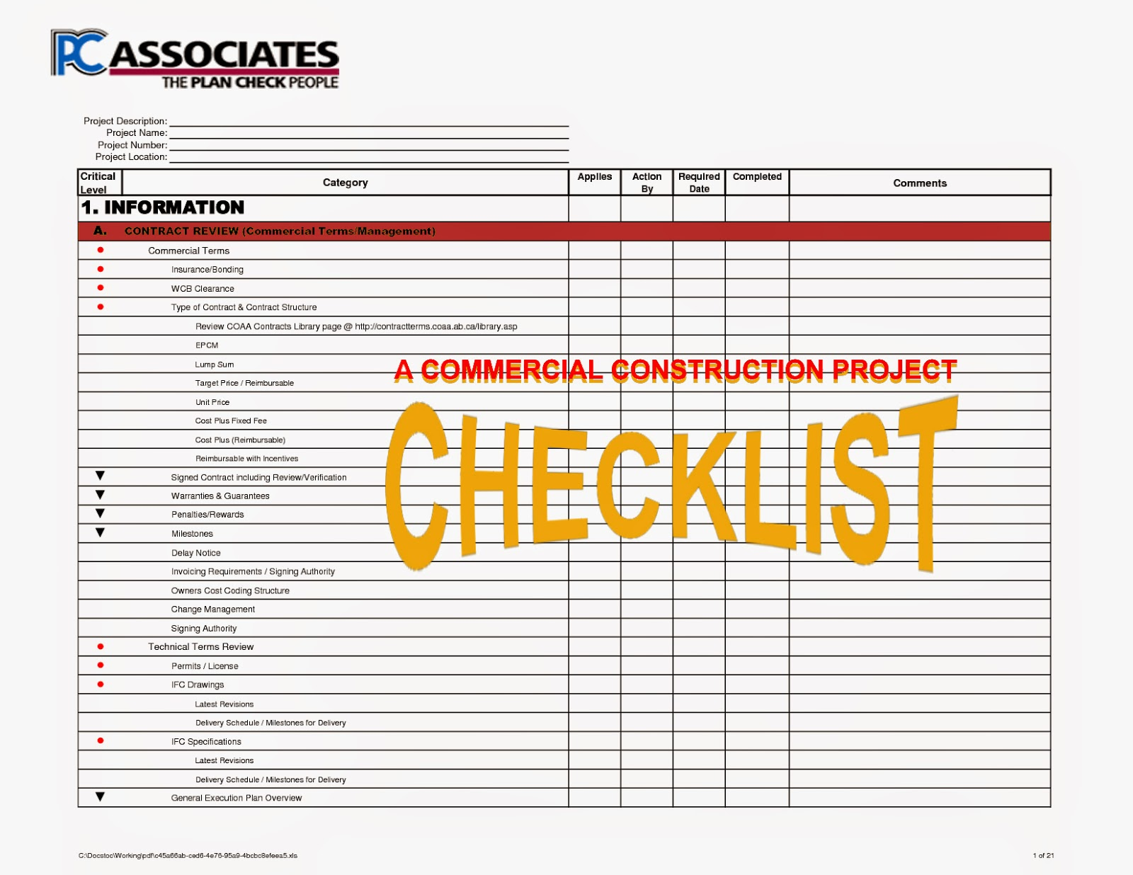 Construction Processes Review: Construction Checklist Review - An ...