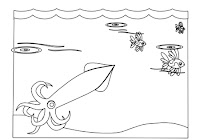 Marine squid in a free animal coloring book by Robert Aaron Wiley for Microsoft Office Online