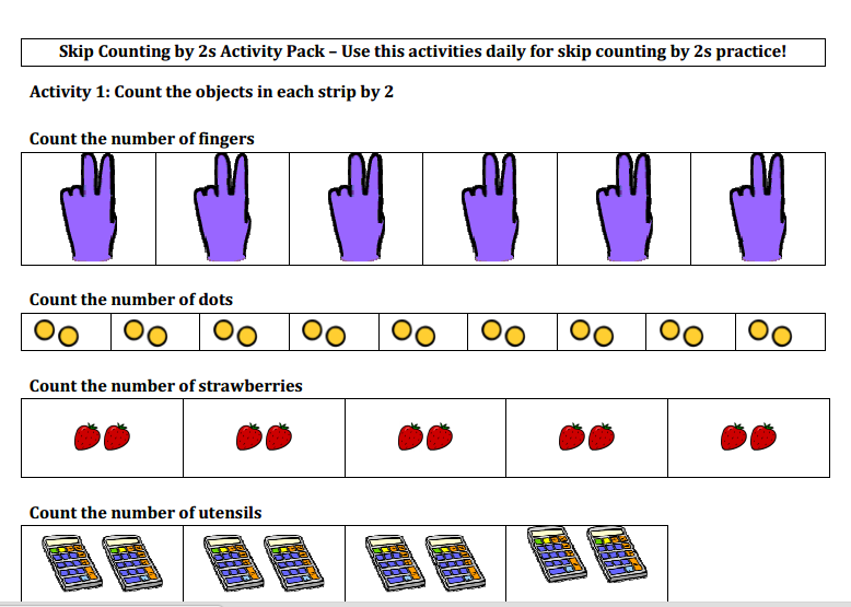 TJ Math Skip Counting by 2s – Counting by 2s Worksheet