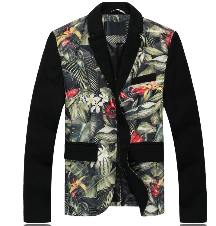 Tropical Floral Plants Black Sleeve Warm Blazer Puffer Jacket