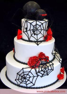 Tarta con araña negra y telarañas