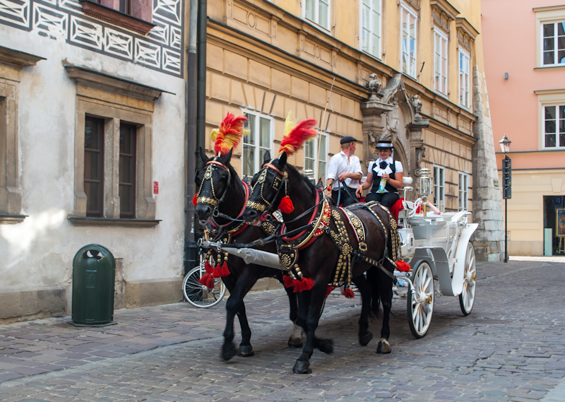 horse drawn carriages in the side streets of Kraków, Poland