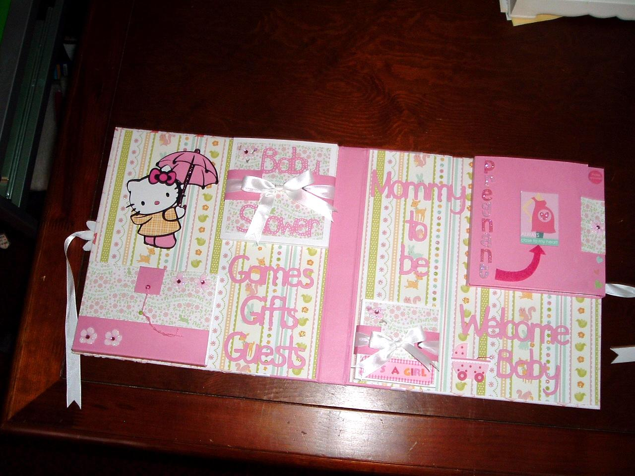 Pats scraps designs a baby shower book notice the hello kitty in the left top corner she is out in the rain i used the hello kitty greeting cricut cartridge to cut her out m4hsunfo