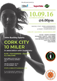John Buckley Sports Cork City 10 miler...Sat 10th Sept 2016