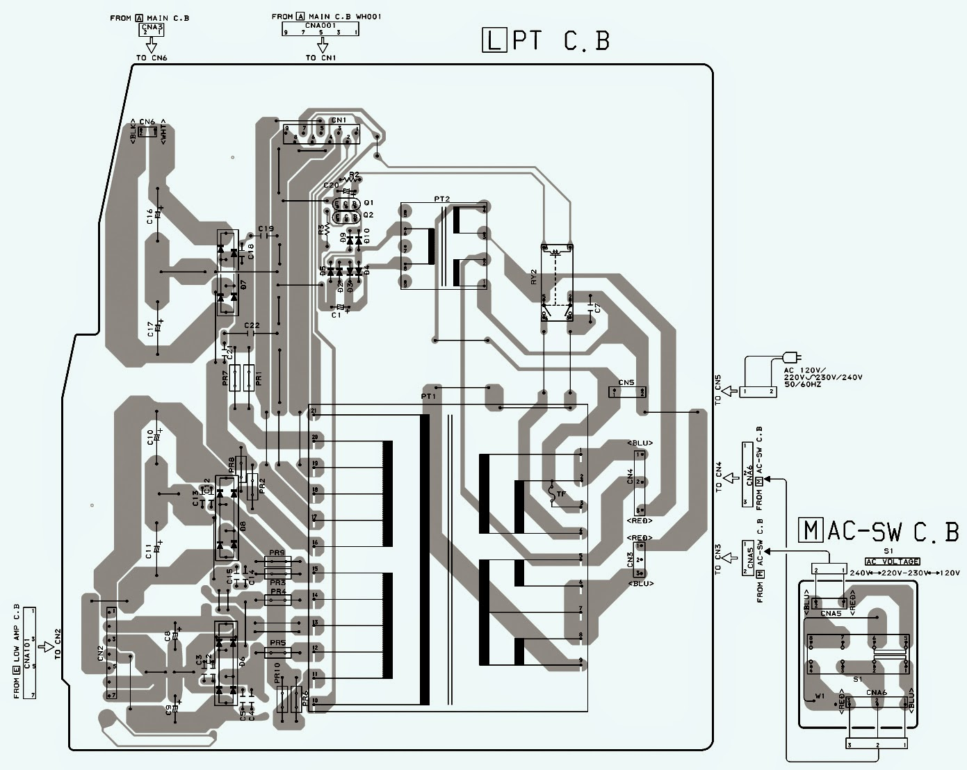pwb+power.bmp aiwa xh a1060 compact disc stereo system schematics electro help aiwa cdc-x144 wiring diagram at bayanpartner.co