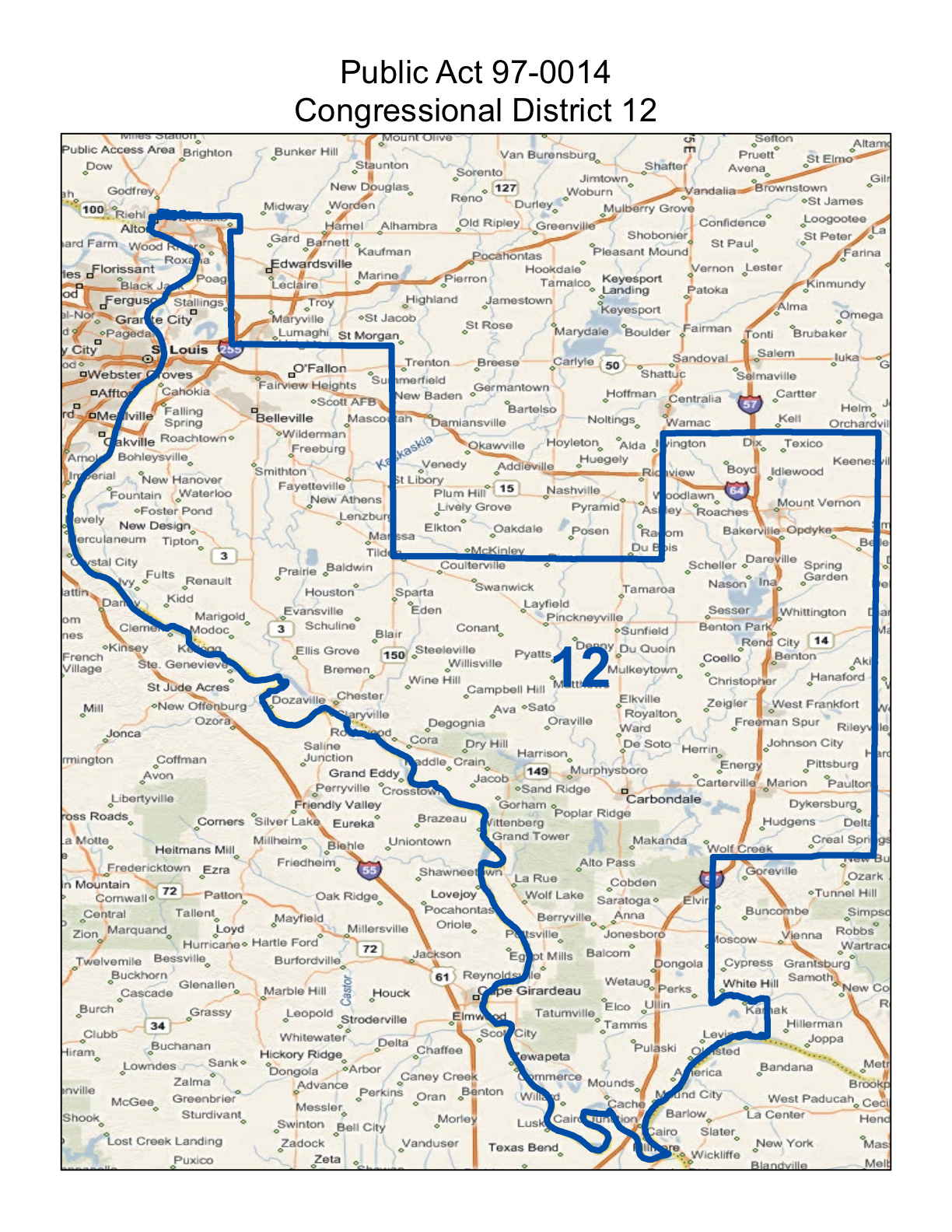 map of realigned illinois 12th congressional district