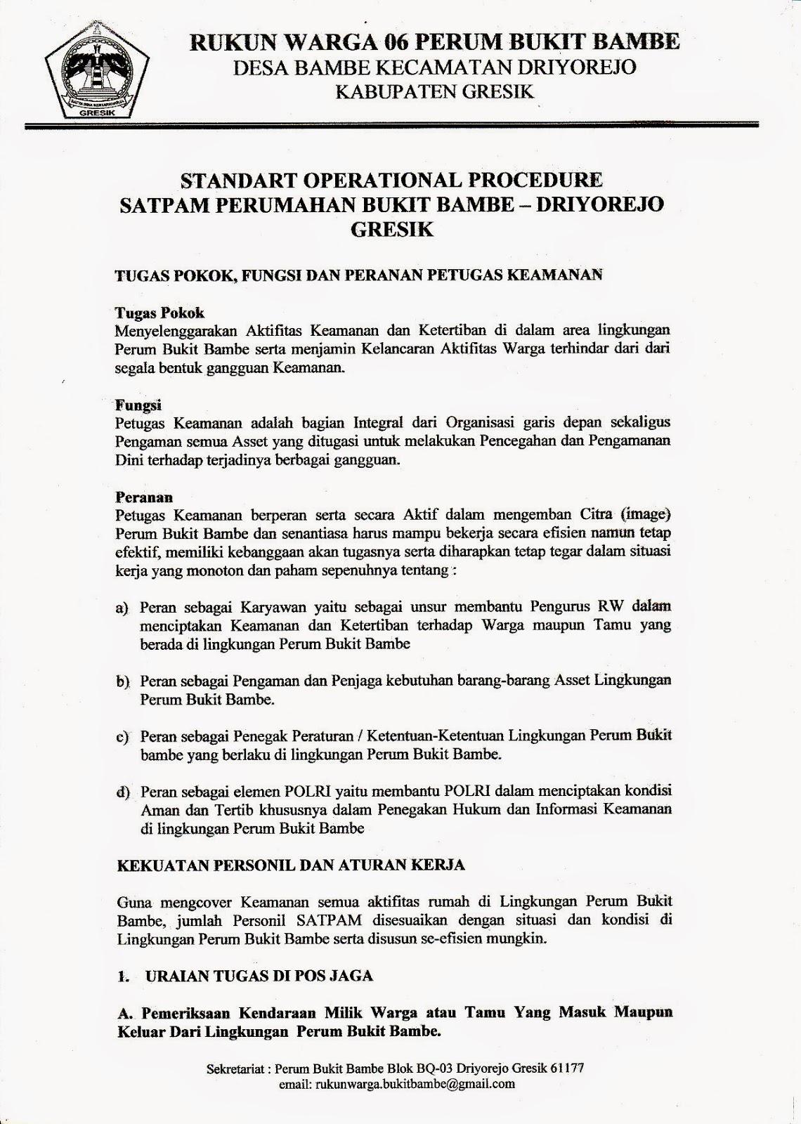 Rukun Warga 06 Perum Bukit Bambe Driyorejo Gresik Periode 2017 2020 Sop Satpam Perumahan Bukit Bambe