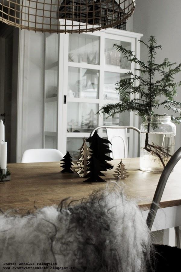 gran med synliga rötter i vas, liten gran, små granar, diy, göra själv, svarta granar, pappersgran, pappersgranar, julpyssel, pyssla till jul, 2014,