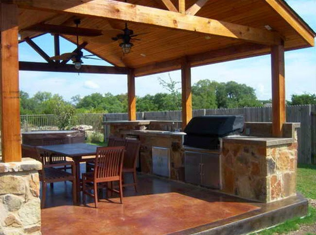 Simple outdoor kitchen design ideas interior home for Build a freestanding patio cover