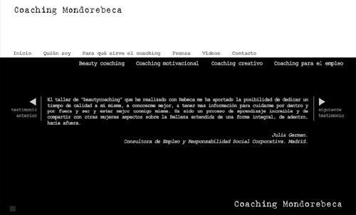 página web de Coaching Mondorebeca: Beauty Coaching, Coaching creativo, Coaching motivacional, Coaching para el empleo...