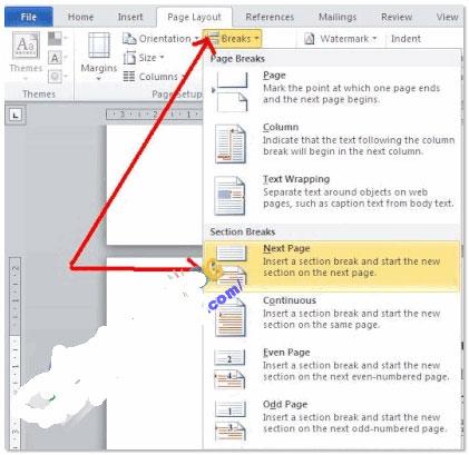 Office tips Đánh số trang trong Word 2007- 2010 từ trang bất kỳ