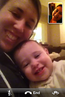 facetime screen shot iPhone of Baby Bear and Erica Villanueva