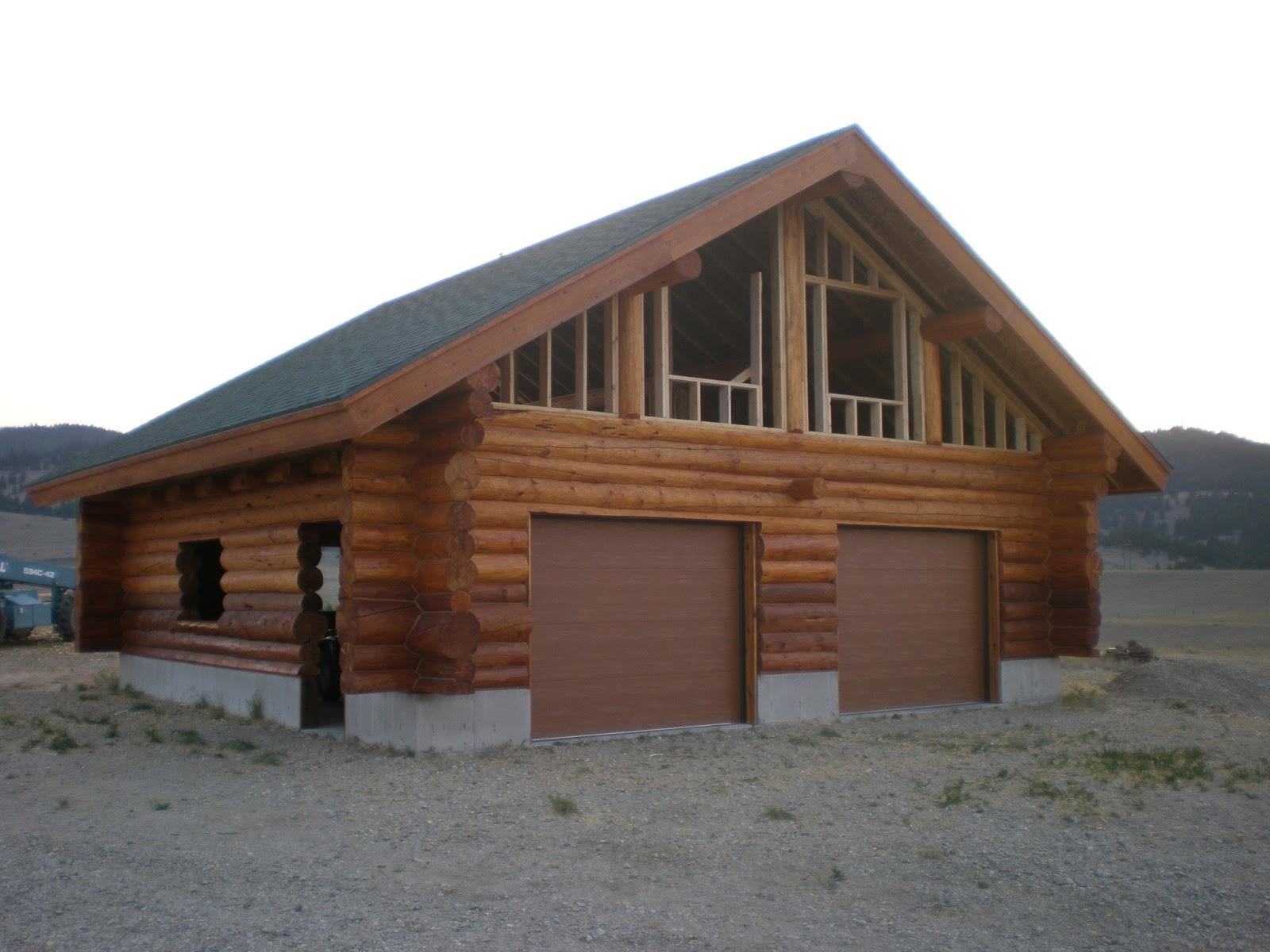 Anderson log cabin fever log home building 8 18 13 8 25 13 for Cabin garage