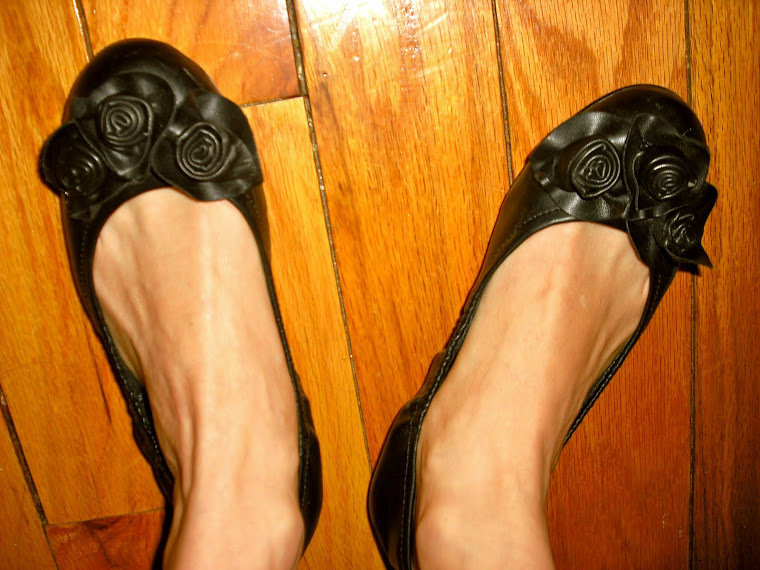 Black flowered shoes
