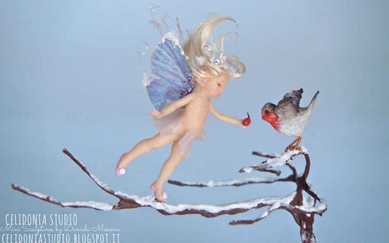 Micro Fairy and Robin Miniature ooak sculpted in polymer clay