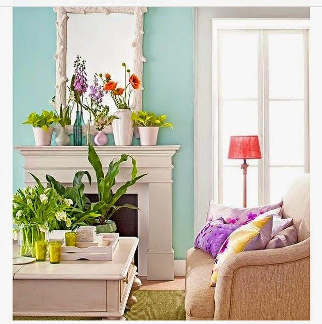 Color verde turquesa y el azul turquesa en la decoración