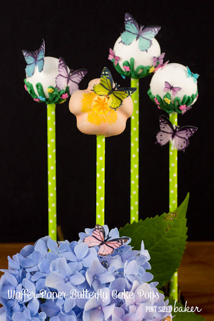 Learn how to make these fun cake pops with edible wafer paper butterflies. They look so beautiful!