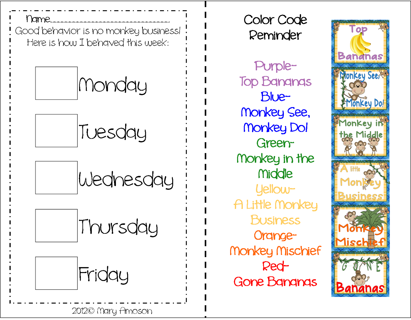 Behavioral charts sharing kindergarten