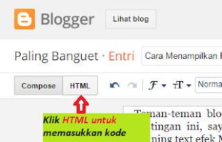 Gambar. Klik Tombol HTML untuk menyimpan kode adsense