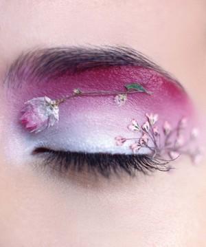 Pink Spring Flowery Garden Eye Makeup