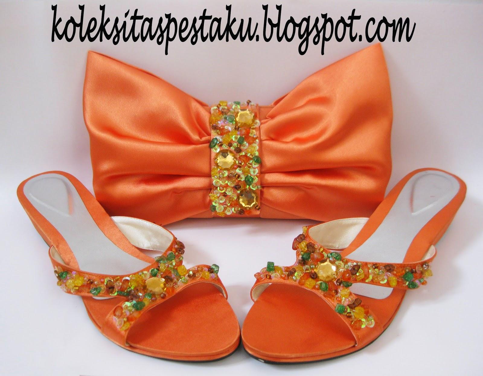 Orange Cerah Tas Pesta Unik dan Slop cantik
