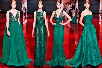 vestido alta costura verde - Elie saab