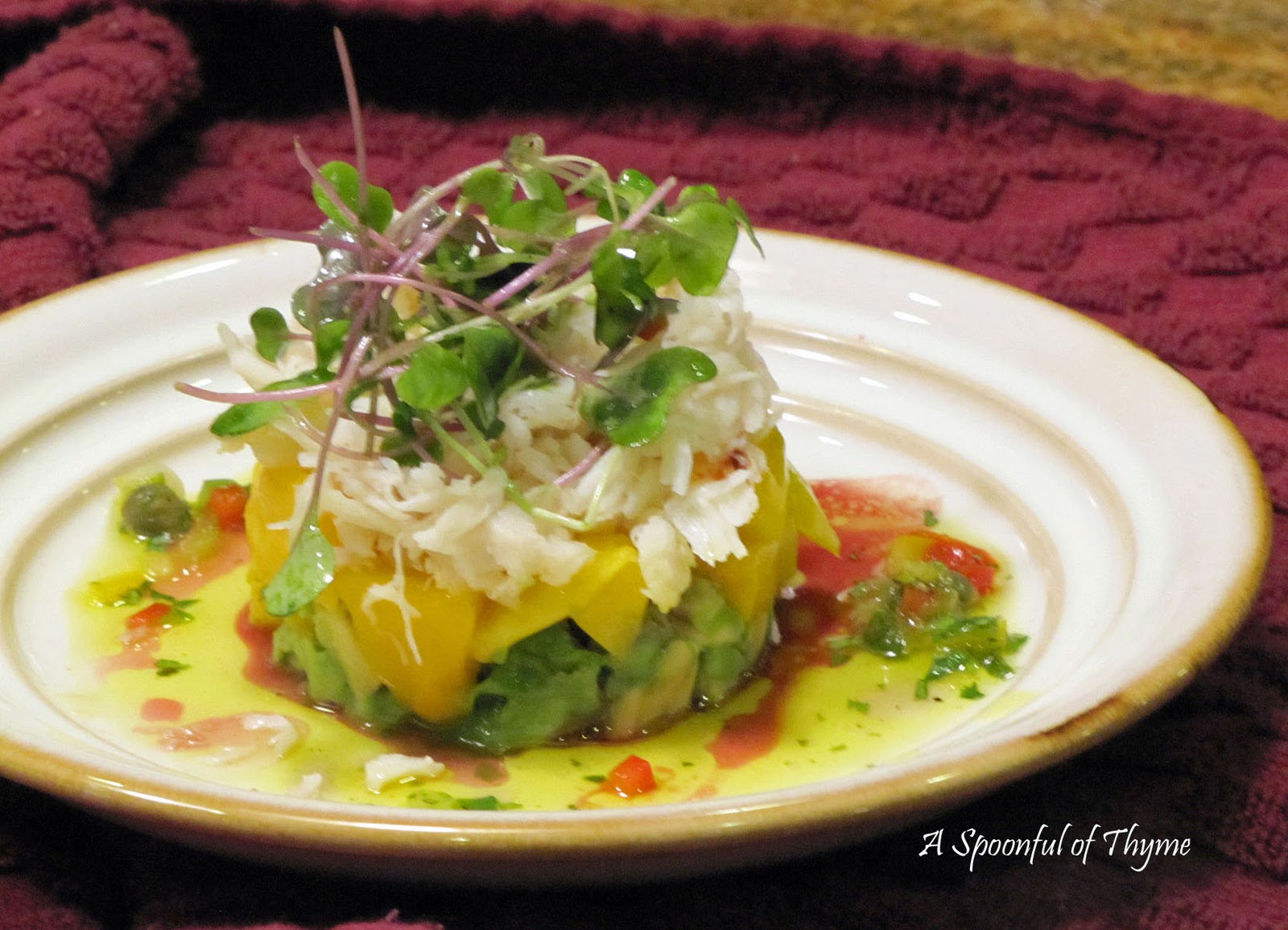Spoonful of Thyme: Crab, Mango and Avocado Towers