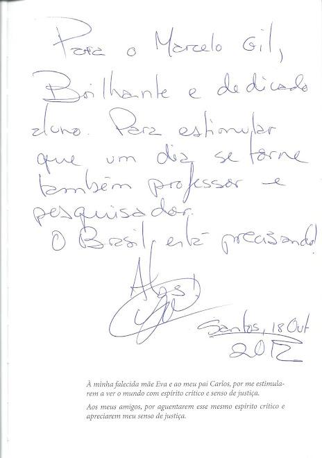 DEDICATÓRIA DO PROFº DR. VLADIMIR GARCIA MAGALHÃES PARA MARCELO GIL, EM 18.10.2012 - Memória