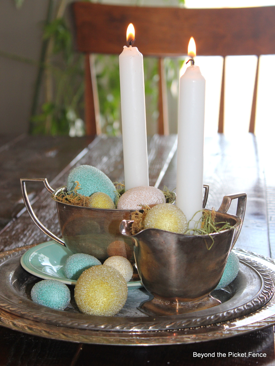 Beyond the picket fence simple spring centerpiece