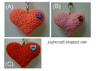 Amigurumi crochet cute mini hearts handphone strap idea