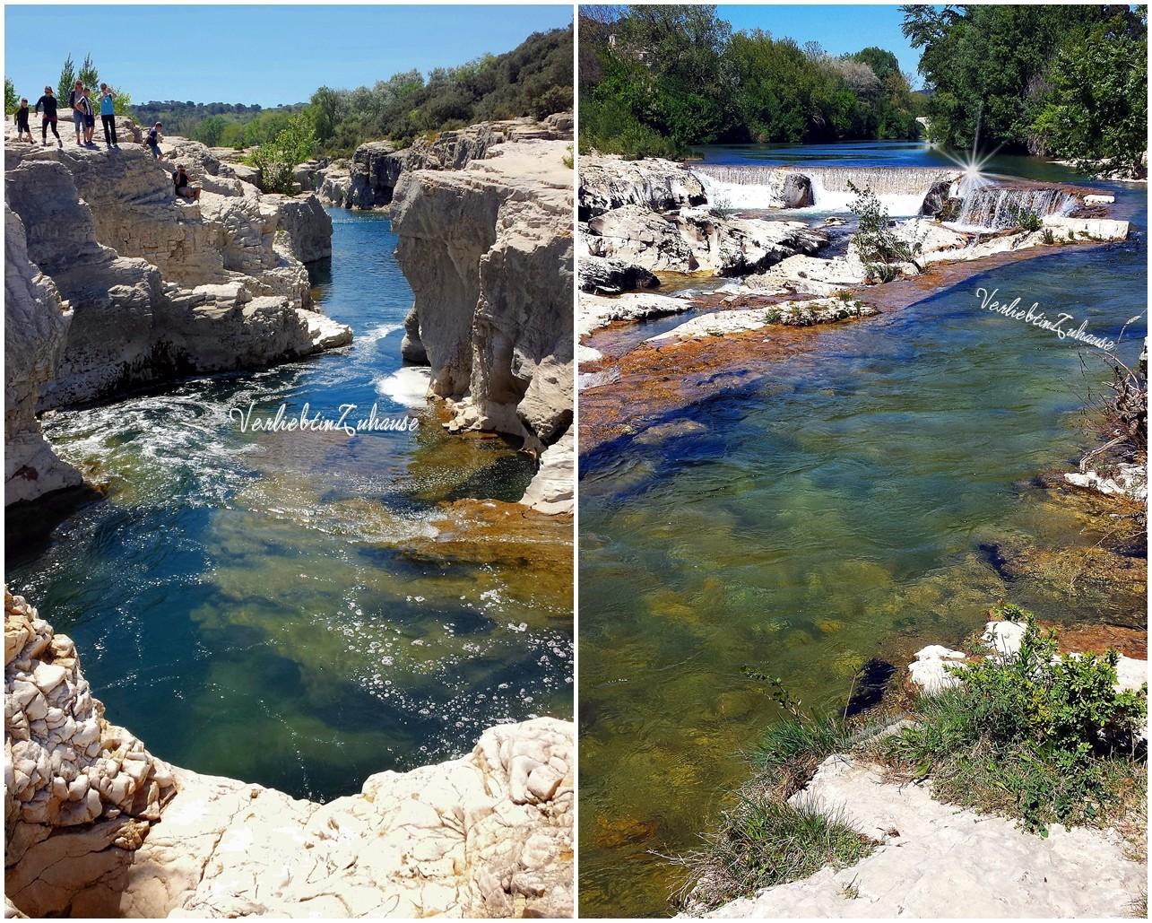 Felsblumen, Steinschluchten, Wasserfälle, Wasserstrudel an den Kaskaden von Sautadet in Frankreich
