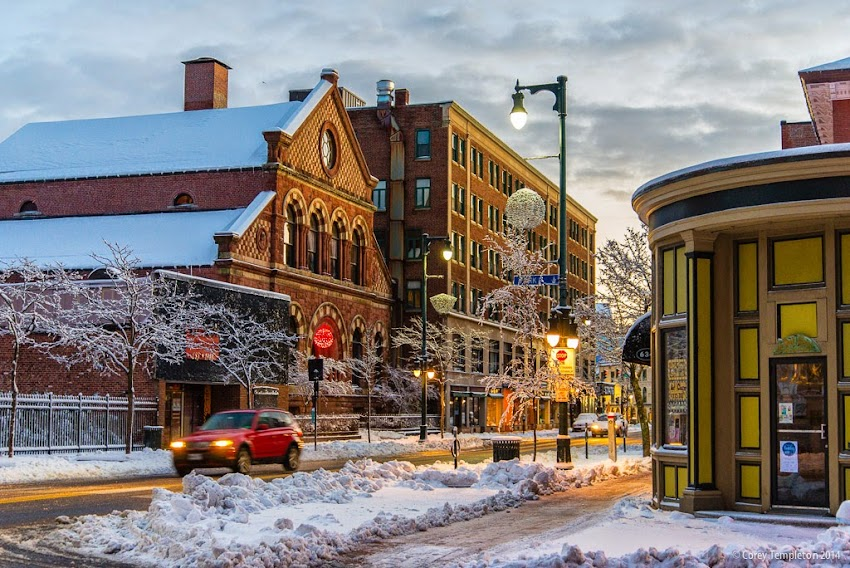 Portland, Maine USA Winter November 2014 Congress Street at Park Street snowy morning photo by Corey Templeton