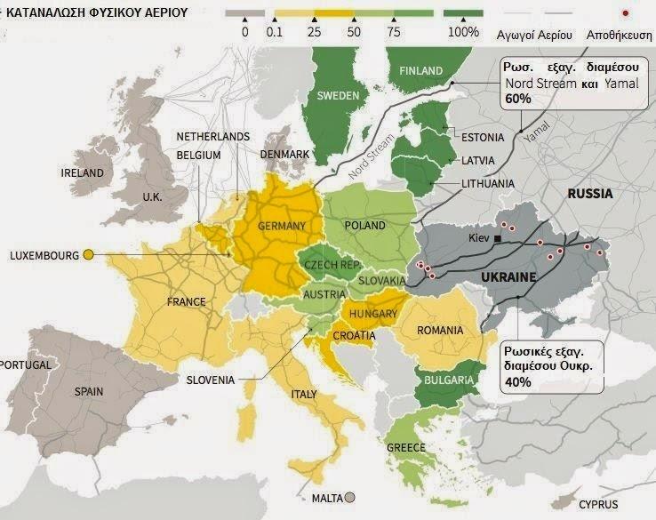 Χάρτης φυσικού αερίου στην Ευρώπη