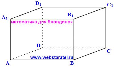 Прямоугольный параллелепипед с обозначениями. Математика для блондинок.