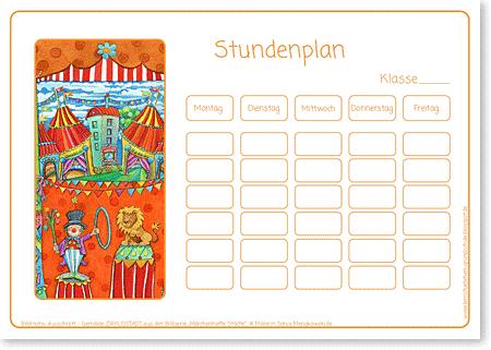 Stundenplan - Zirkus Kupus - Format DIN A4 - Grundschule